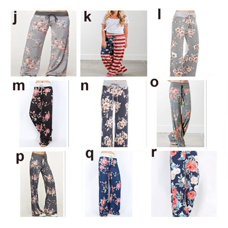 Plus Size Women Floral Print Yoga Palazzo Trousers Pants 32 Style Wide Trousers Ties Design Loose Sport Harem Pant High Waist Boho Pants