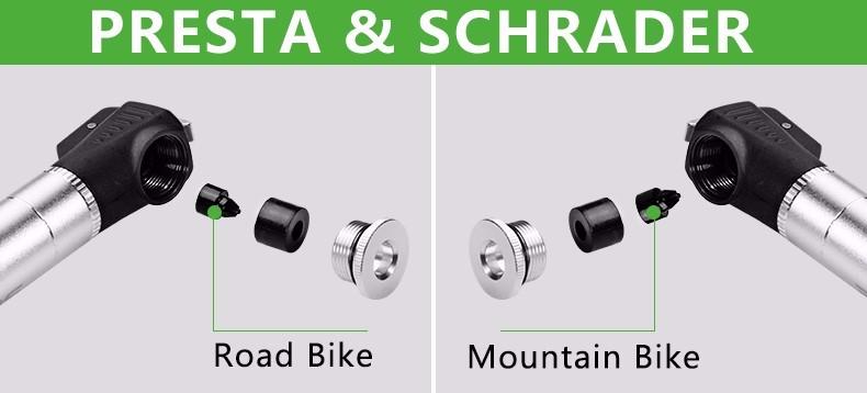 34ROCKBROS 100Pis Aluminum Bidirectional Unidirectional Bicycle Pump Cycling MTB Bike Presta & Sc