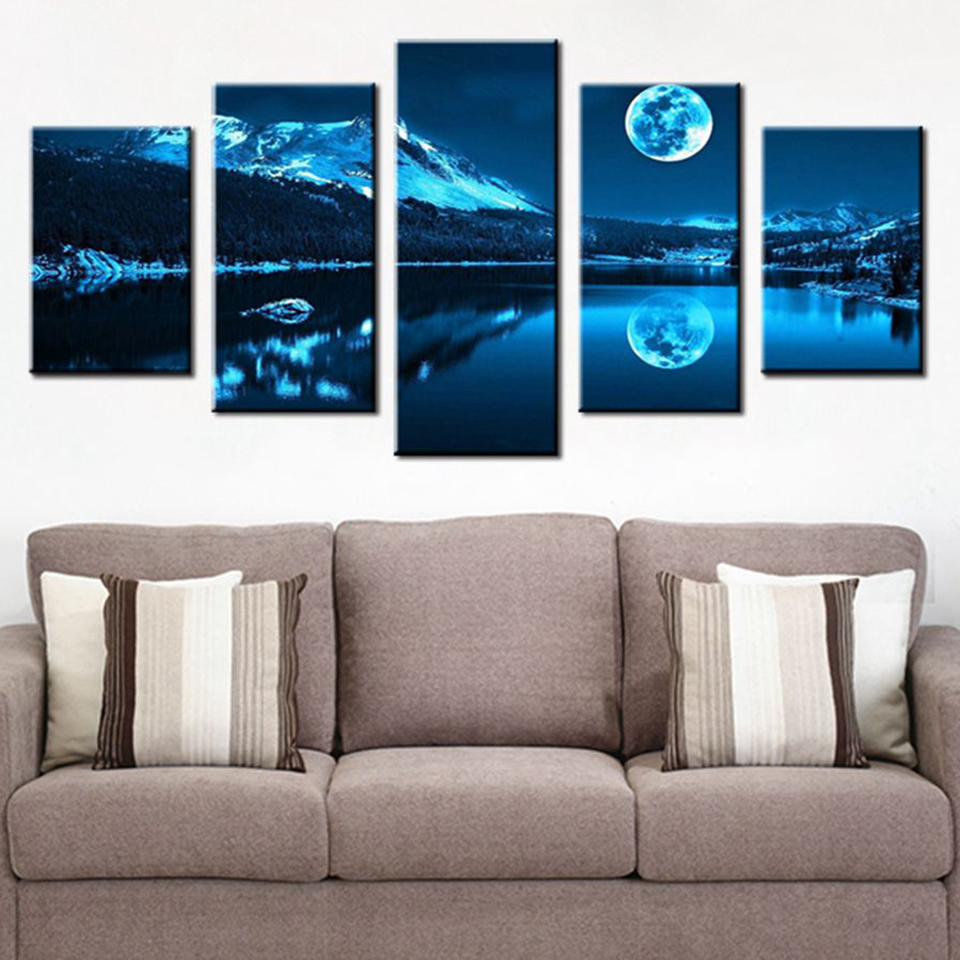 Modular HD Printed Images Canvas Painting 5 Panel Mountain Lake Moon Nature Landscape Wall Art For Home Decoration Living Room