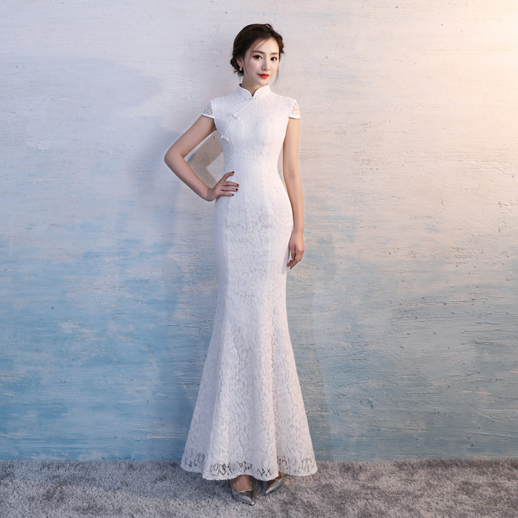 Hyg896 Chinese Traditional Dress White Lace Fishtail