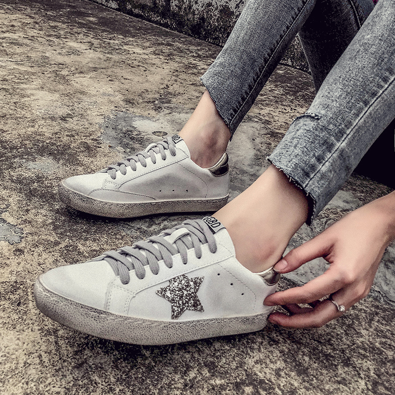 2019 GRAM EPOS New Women Casual Shoes Glitter Leather Do Old Dirty ... 1bd31eb8780c
