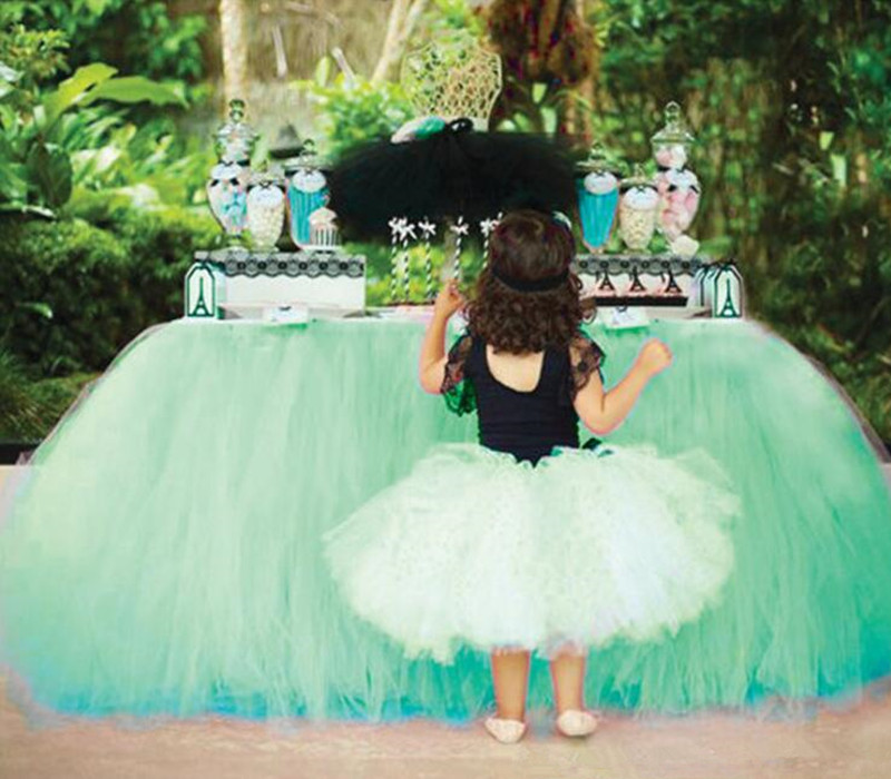 Colorful Tutu Tulle Table Skirts Baby Shower Decoration for Birthday Wedding Arrangement Decor Event Party Supplies