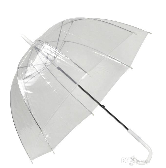 Ombrello A Cupola Da Donna Automatico Nero Bianco Pizzo PVC TRASPARENTE da passeggio Parasole