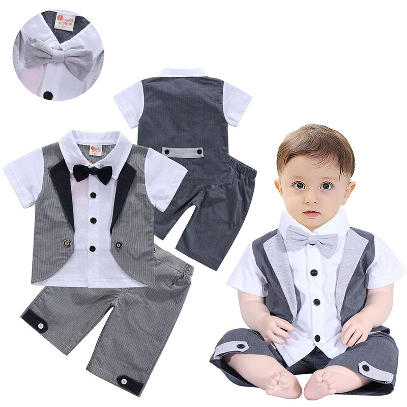 La Vogue Baby Boys 2 Pieces Set Summer Gentleman Short Sleeve Shirt Shorts