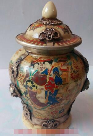 Collectible Decorated Old Porcelain /& Tibet Silver Dragon Lady Traveling Pot