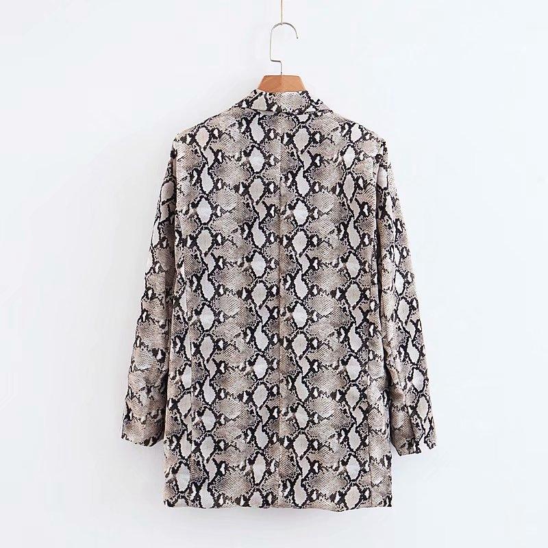 Womens Blazers Long Sleeve Snake Skin Print Long Style Hidden Breasted Ladies Blazers Women Streetwear Outwear S M L (15)