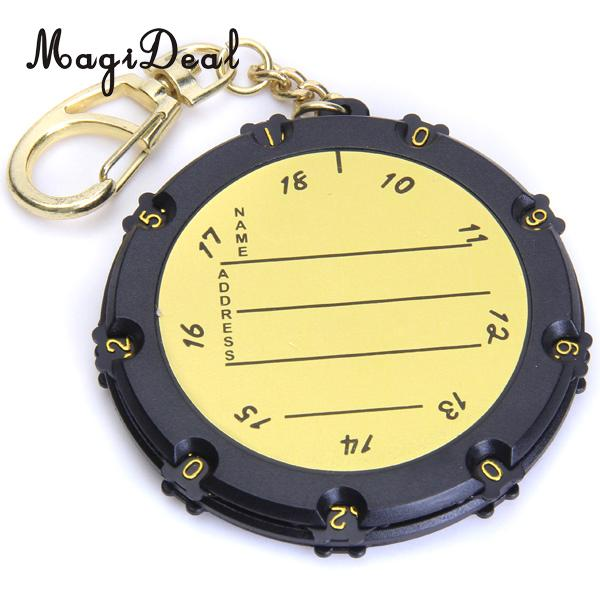MagiDeal 2 Pieces 18 Holes Golf Score Counter Round Scoring Bag Tag Stroke Counter Silver + Yellow