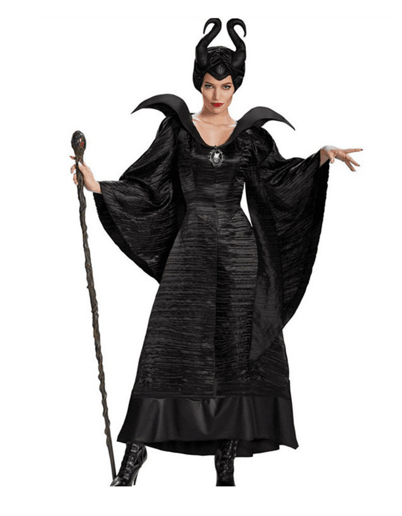 2018 Nuovo Halloween Role Play Customes Sleeping Curse Dark Strega Devil Queen Costume Stage Wear con copricapo