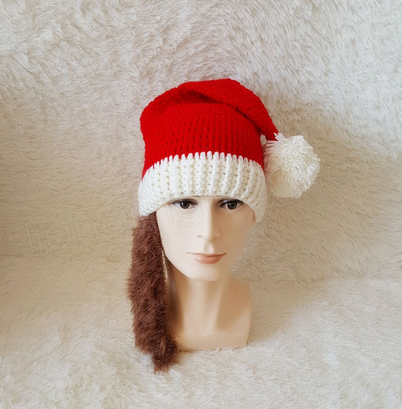 Christmas Beard Hats Knitted Beard Mask Cap Winter Santa Clause Cosplay Hat Warm Ear protective Skiing Headgear scarves hat sets GGA1045