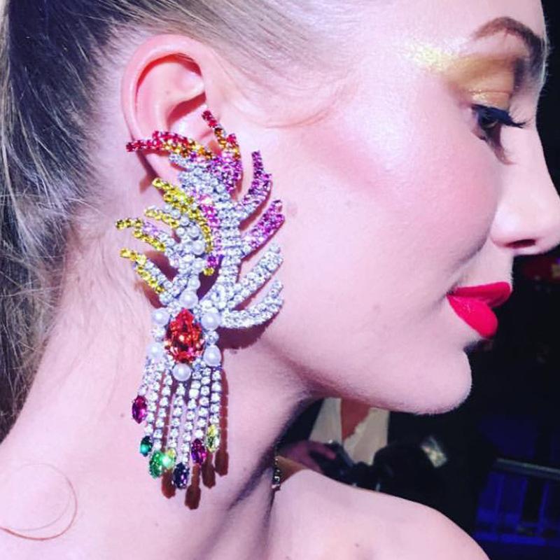 Neue Mode Luxus Voller Glänzender Strass Feder Ohrringe Party Schmuck WRDE