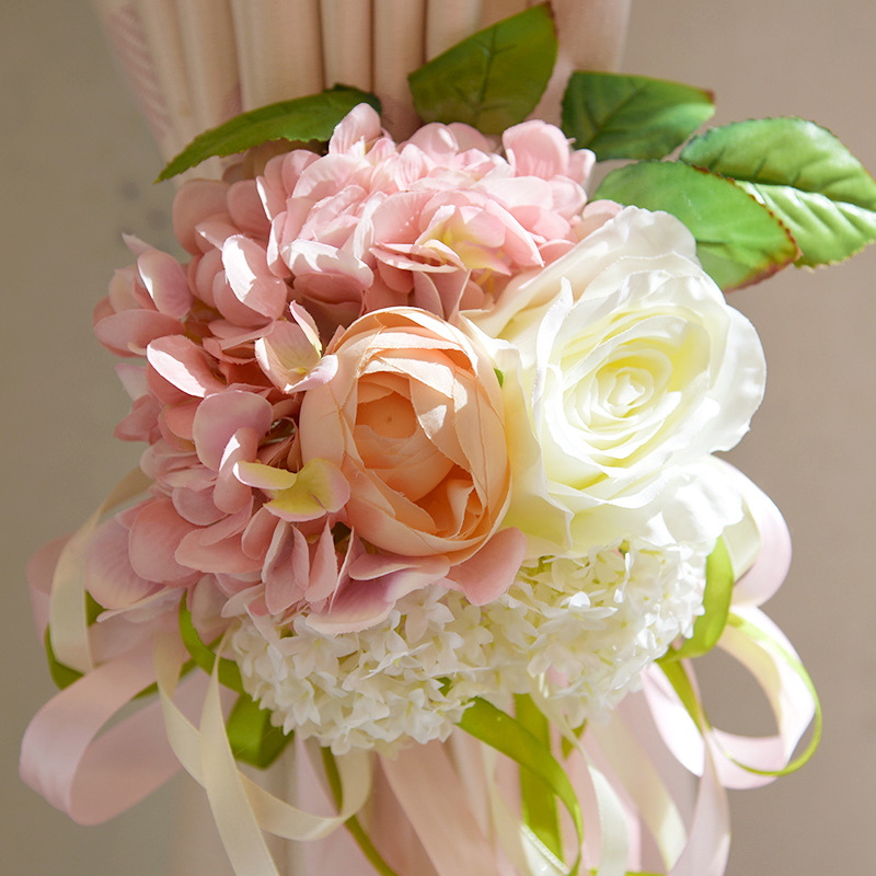 White Peony Artificial Flowers Ribbon Blue Red Rose Hydrangea Decor for Home Wedding House Silk Flower Bouquet (2)