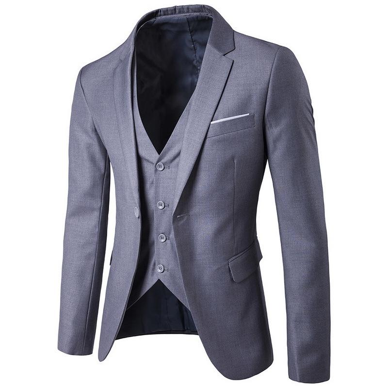 CALOFE Blazers Pants Vest Social Suit Men Fashion Solid Business Suit Set Casual Large Size Mens Wedding Suits 5XL S18101903