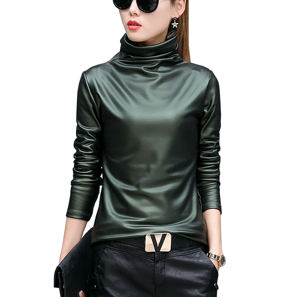 Damen Wet Look PU Leder Langarm Bluse Rollkragen Clubwear Kostüm Punk Shirts GR