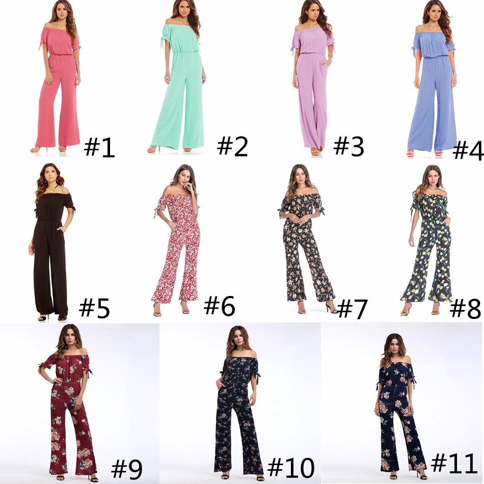 Women Dress Simple Sexy Holiday Style floral Strapless Straps Jumpsuit Chiffon short sleeved dress pants Rompers GGA941