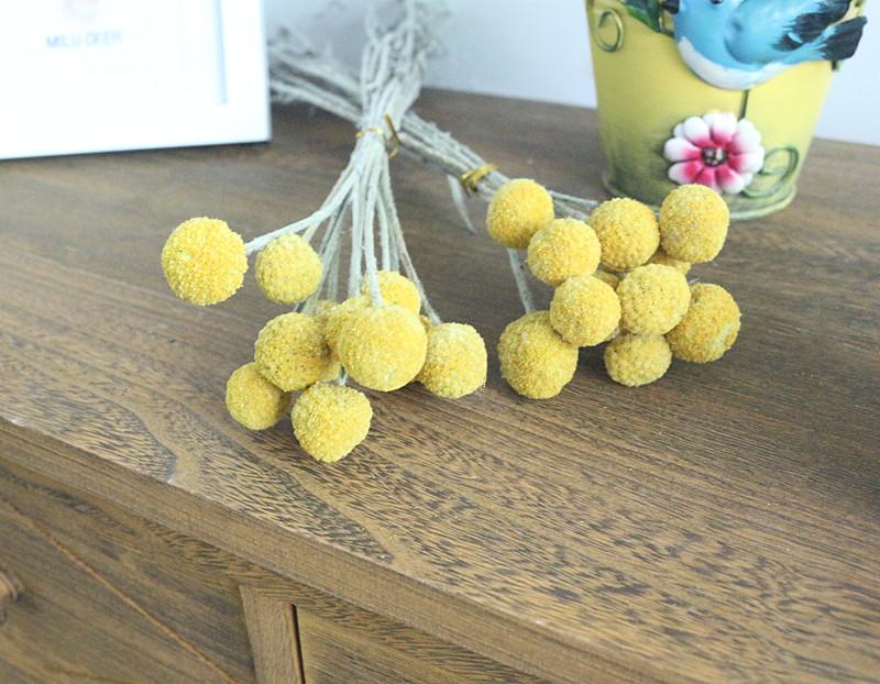 Flone Golden Ball Flower Branch Eternal Flowers Dried Flowers DIY Flower Bouquet Wedding Aceesories Home Party Gift Decor Art (8)