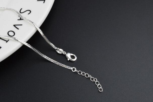 2018 hot sales plating 925 silver Gold 2mm blade chain Bracelet Foot chain Foot ornament 21.5cm+3cm girl woman Fashion ornaments