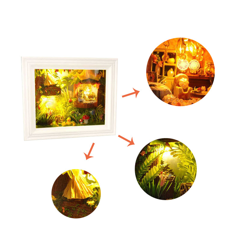 DIY Kits Christmas House Decoration Miniature Wood Frame House Furniture Dollhouse Model Assembling Toys for Kids Xmas Gift Toy