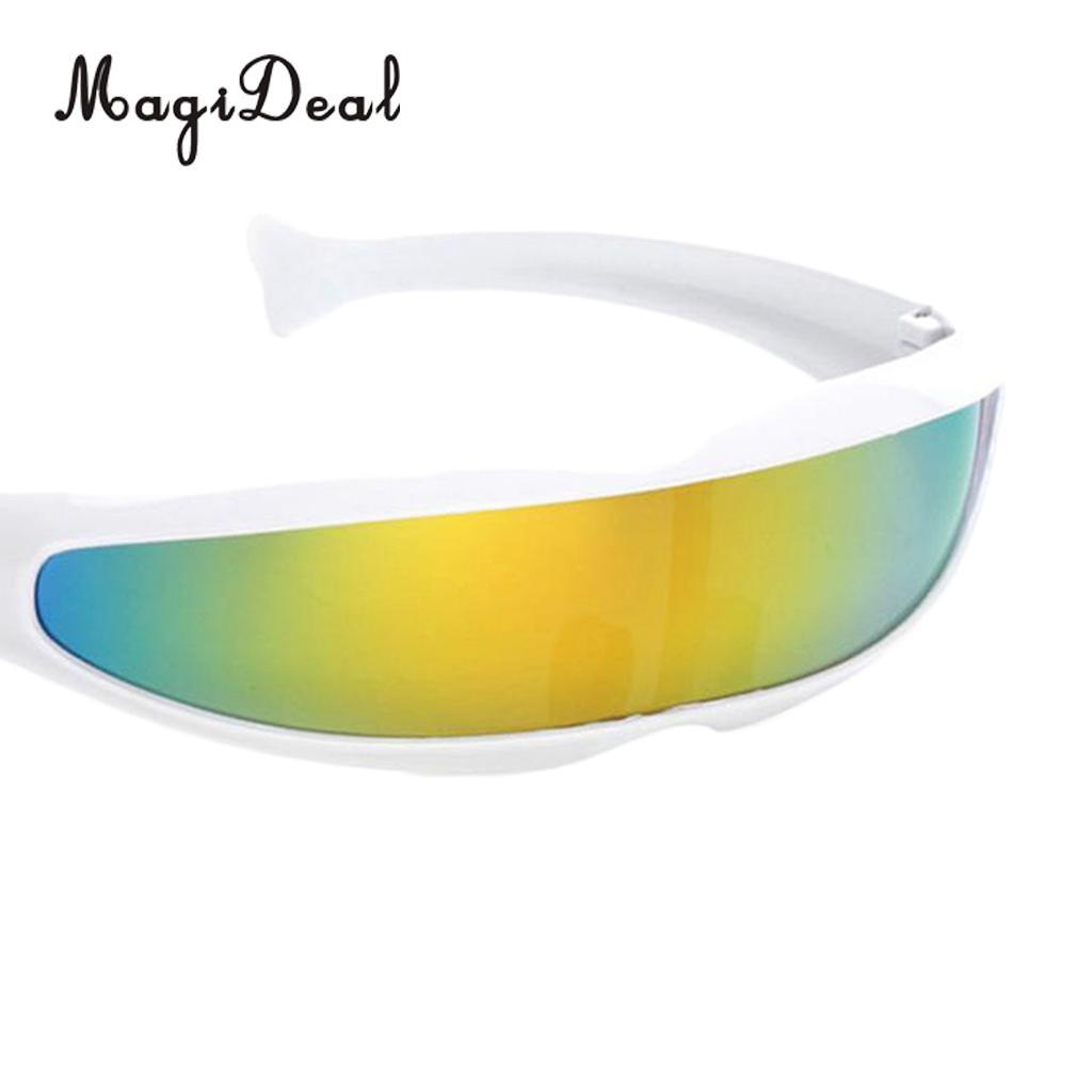 MagiDeal 2pcs Yellow Blue Alien Space Robot Cyclops Futuristic Cosplay Costume Novelty Women Men Sunglasses