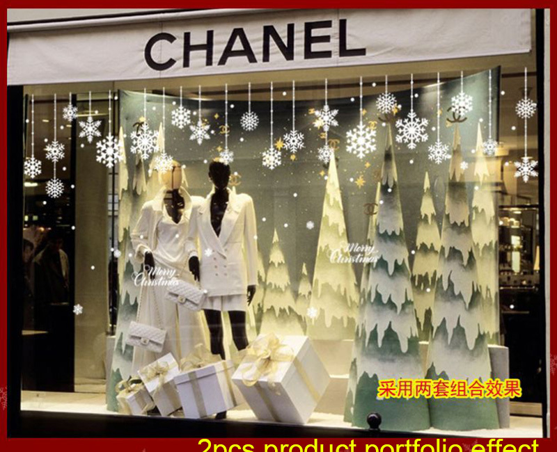Happy New Year Christmas Decorations for Home Snowflake Glass Sticker Merry Christmas Decor Shop Window Sticker Navidad Natal (9)
