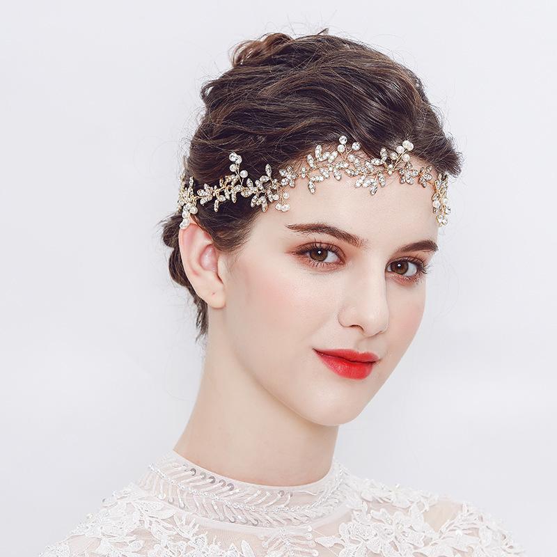European and American luxury high-end bride alloy rhinestone hair band handmade gold imitation pearl wedding headdress jewelry wholesale