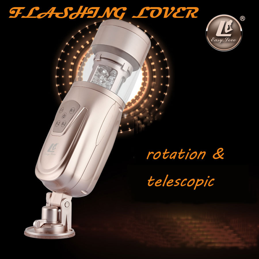 Electric silicone Telescopic Flashing Lover Automatic Sex Machine Rotating and Retractable Male Masturbators Sex Toys for Men S919