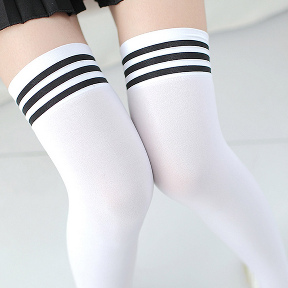 Sexy Medias Fashion Striped Knee Socks Women Cotton Thigh High Over The Knee Stockings for Ladies Girls 2017 Warm Long Stocking Y1890305