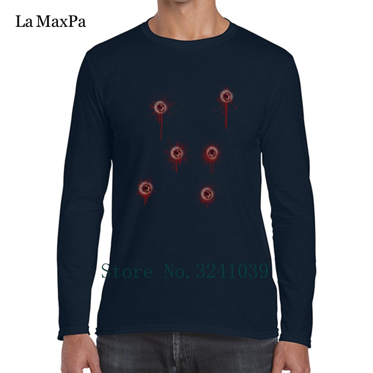 La Maxpa Best Bullet Holes Costume Tee Shirts For Men Kawaii Regular T-Shirt Sunlight long sleeve S-3xl Unisex Men's T Shirt