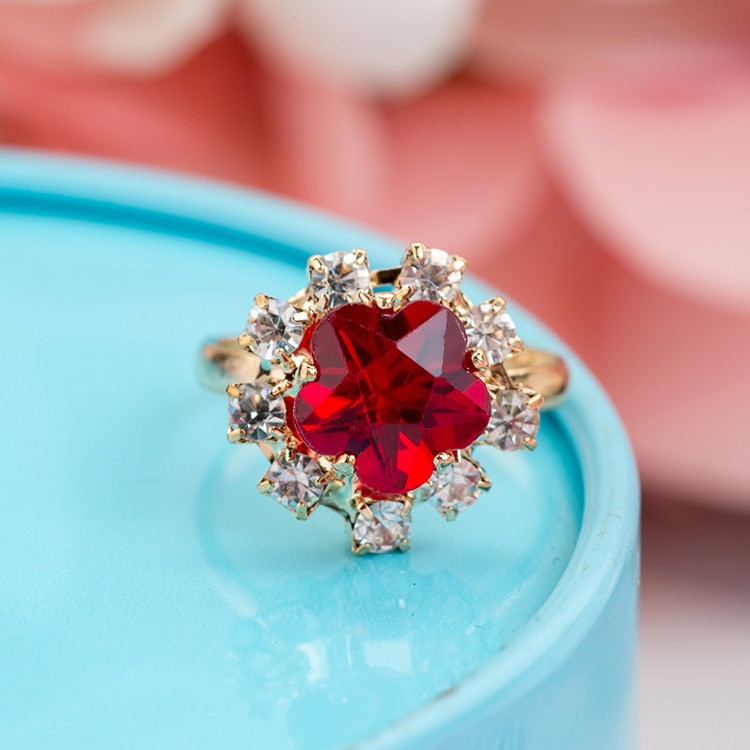 /Box Sterling Silver S925 Diamond Gemstone Ring With Heart Box For Children Christmas Gift Cute Adjustable Open Rings