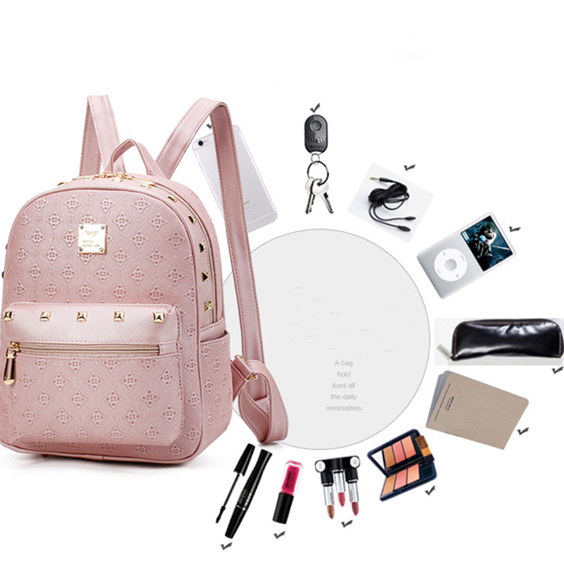 New Set Fashion Brand Women Fashion Backpack with Purse Bag PU Leather Embossing Rucksack Girls High Quality School Bag Travel bags
