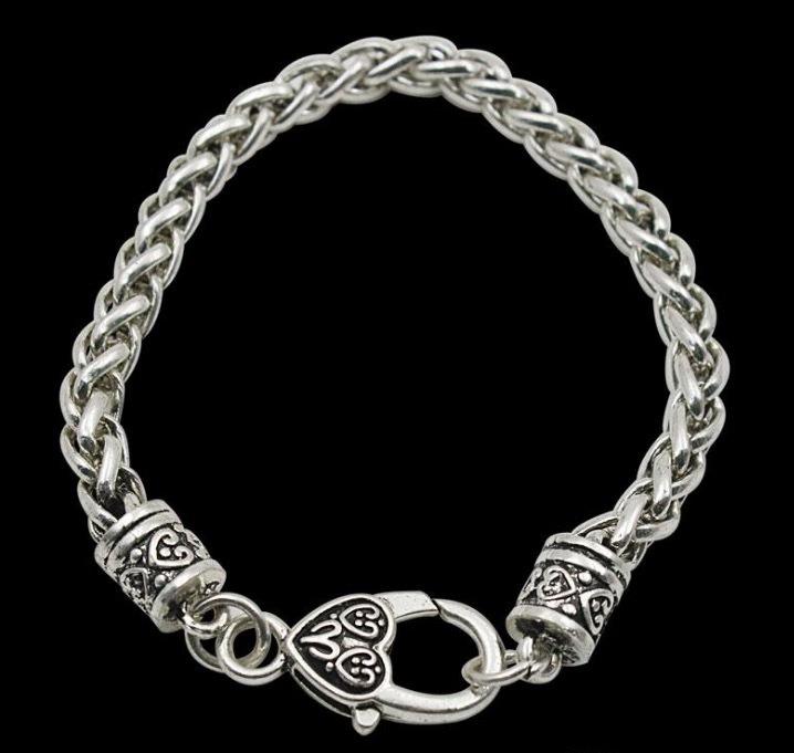 Fashion 20cm Vintage Statement Rope Girls Charm Bracelets Twisted Chain Bracelets With Large Heart Lobster Clasp FB068 Bracelet