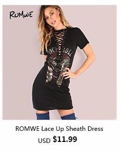 romwe-Lace Up Sheath Dress