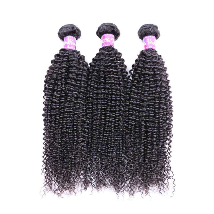 7A Kinky Curly Brazilian Human Hair Weaves Natural Color Non Processed Hair Extension Wefts 12-26 Inch 3/4 Bundles