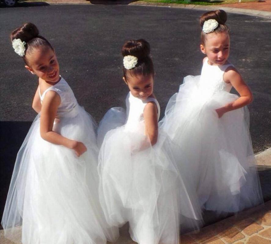 Beautiful Backless Cute Little Flower Girl Dresses Floor Length Hand Made Flowers Tiered Kids Prom Birthday Dress Cheap
