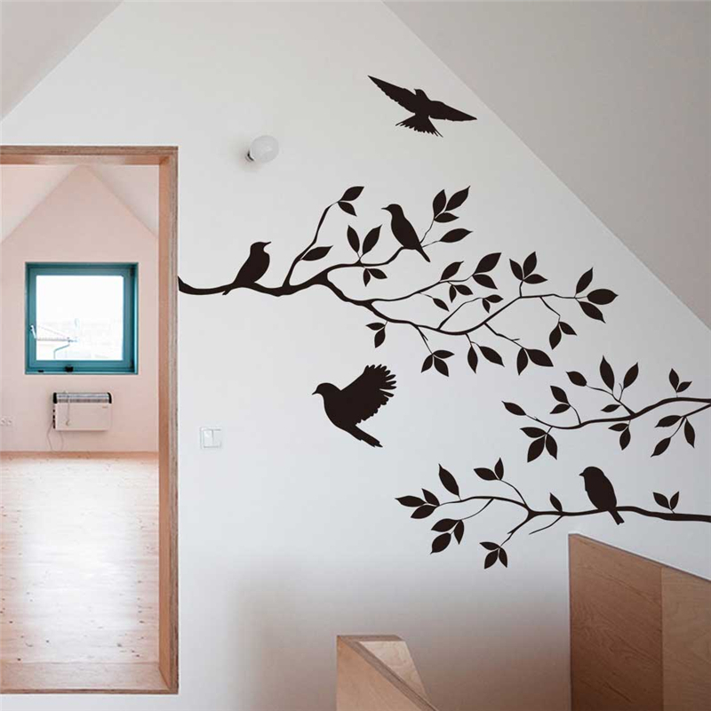 hot selling black birds tree branch vinyl wall decals for bedroom diy home indoor wall art decor removable stickershaif