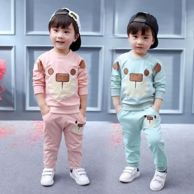 Criança Bebés Meninos Roupa Urso lazer Primavera Outono Manga comprida T-shirt + calças ternos roupa do bebê menina miúdos Bebes