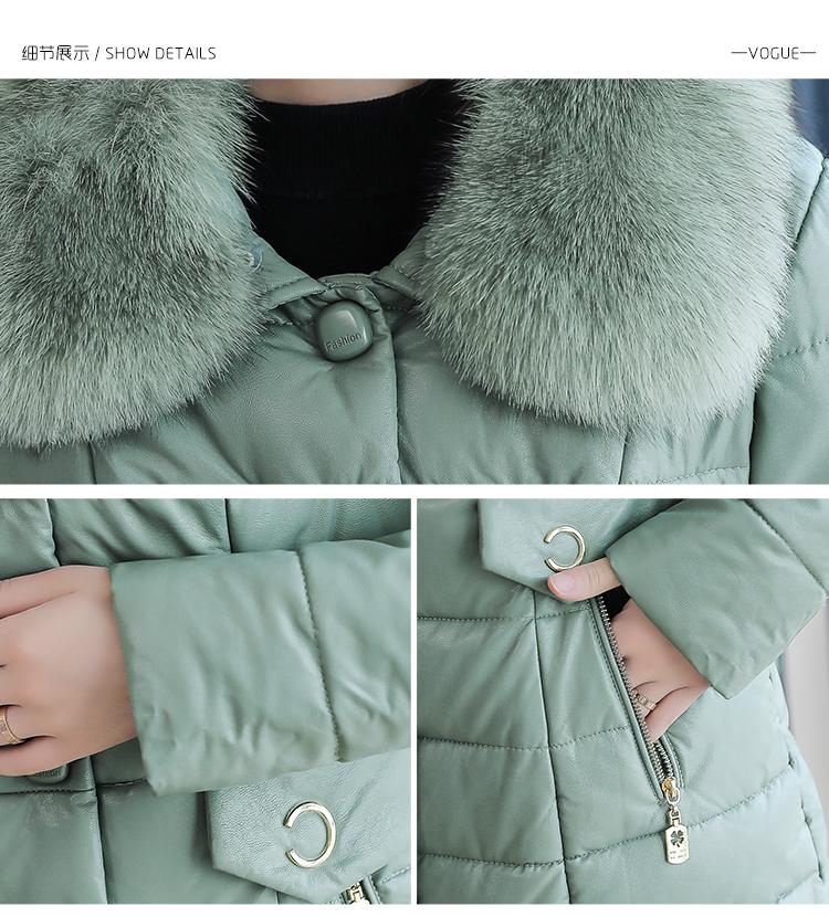 8300 Plus Size Faux Fur Collar Leather Jackets Women Slim Long Warm Down Fur Coat Elegant Top Quality Manteau Femme Hiver 5xl 2018 13