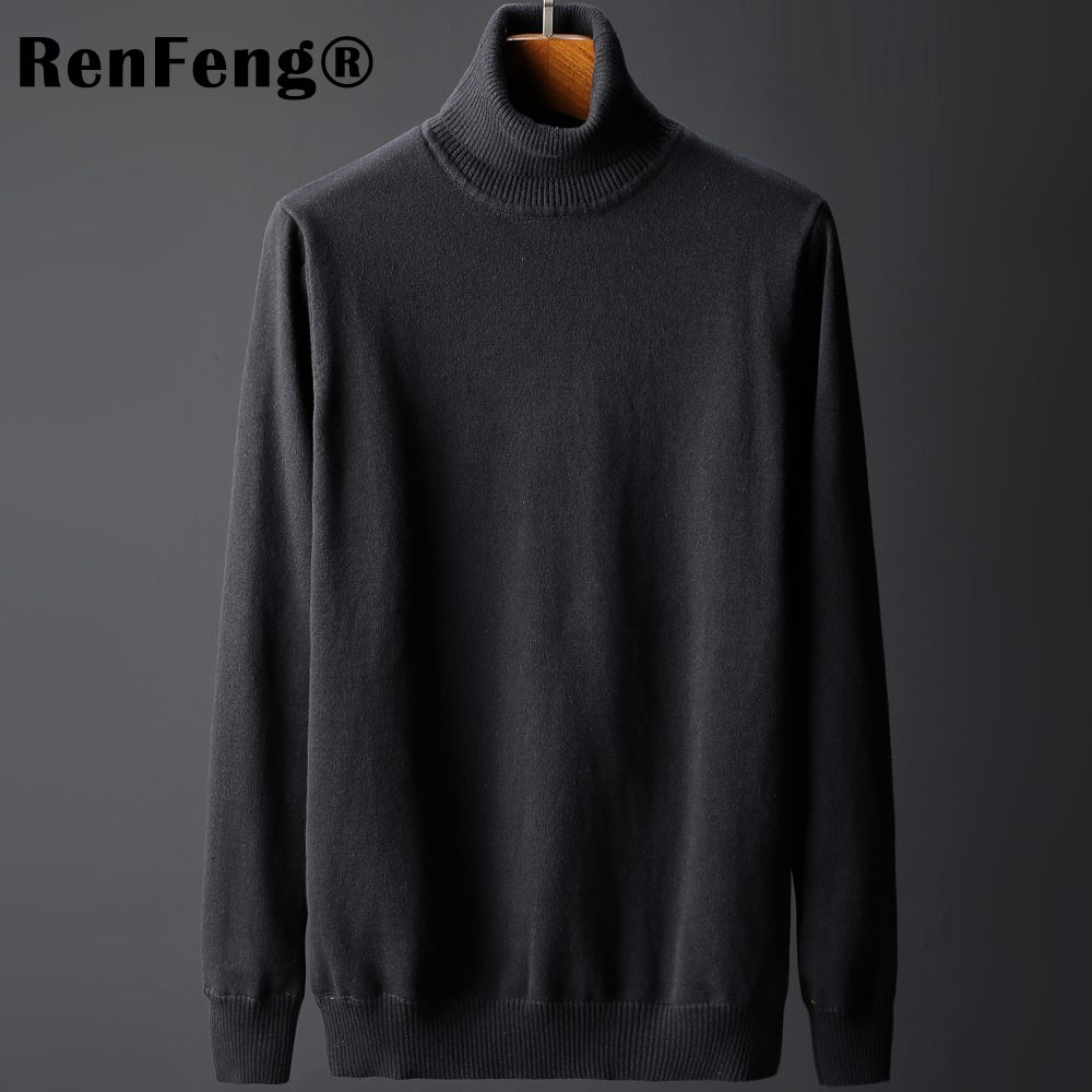 High Quality Soild Autumn Winter Men Sweater Thick Jacquard Knitted Pullover Turtleneck Sweater Fashion Casual Homme Jumper Man (2)