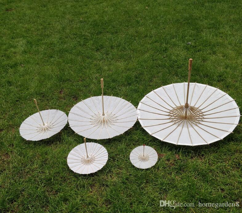 Hochzeit Sonnenschirme White Paper Regenschirm Chinese Mini Handwerk Regenschirm 5 Radius: 10,15,20,30,42cm Hochzeit Gunsten Dekoration