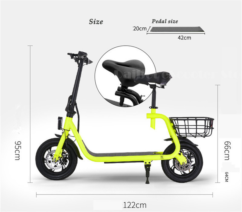 Daibot Electric Scooter For Kids Two Wheel Electric Scooters 12 inch Brushless Motor 350W 36V Portable Adult Electric Bike (33)
