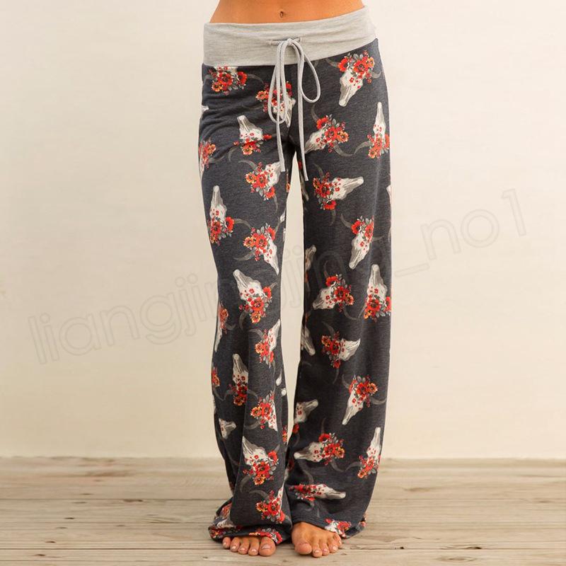 Yoga Spor Geniş Bacak Pantolon Kadın Rahat spor Pantolon Çiçek Baskı Harem Pantolon Palazzo Kapriler Bayan Pantolon Gevşek Uzun pantolon GGA1020