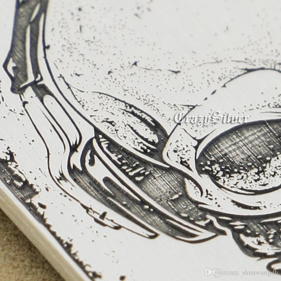 "High Detail Deep Engraved Customizable 925 Sterling Silver Skull Dog Tag Mens Biker Rocker Punk Pendant 9X001 Steel Necklace 24"""