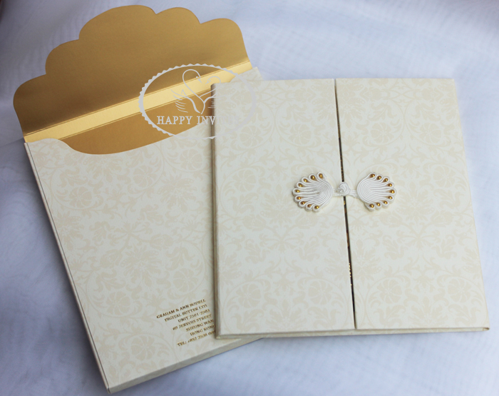 HI1091 - 01 Personalized Hard Cover Gate Fold Wedding Card with Gold Foil