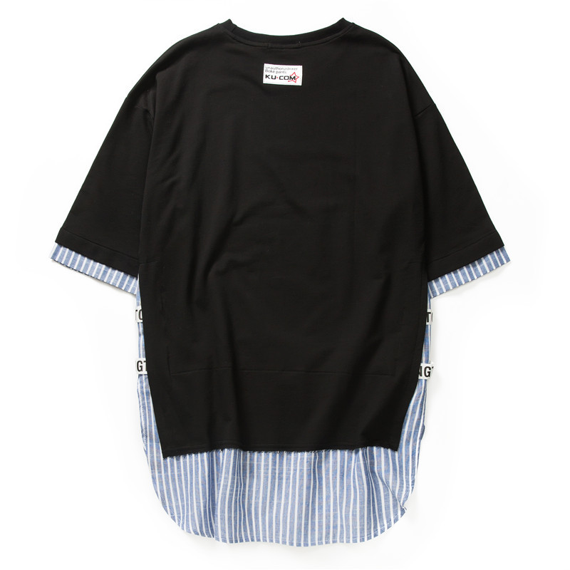 Striped Patchwork Curved Hem Extended T Shirts 10