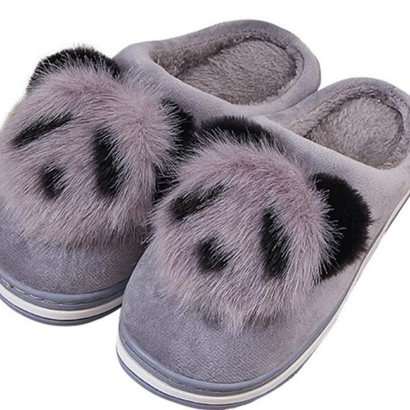 Pregnant Women Casual Flats Plush Slippers Shoes Shallow Cartoon Printed Thicken Bottom Non-slip Winter Warm Fur Slippers