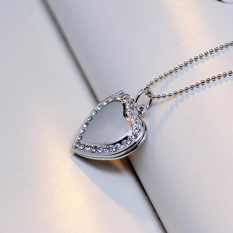 925 Sterling Silver Necklace Love Heart Charm Floating lockets Diamond Elements Crystal Pendant Necklaces Jewelry