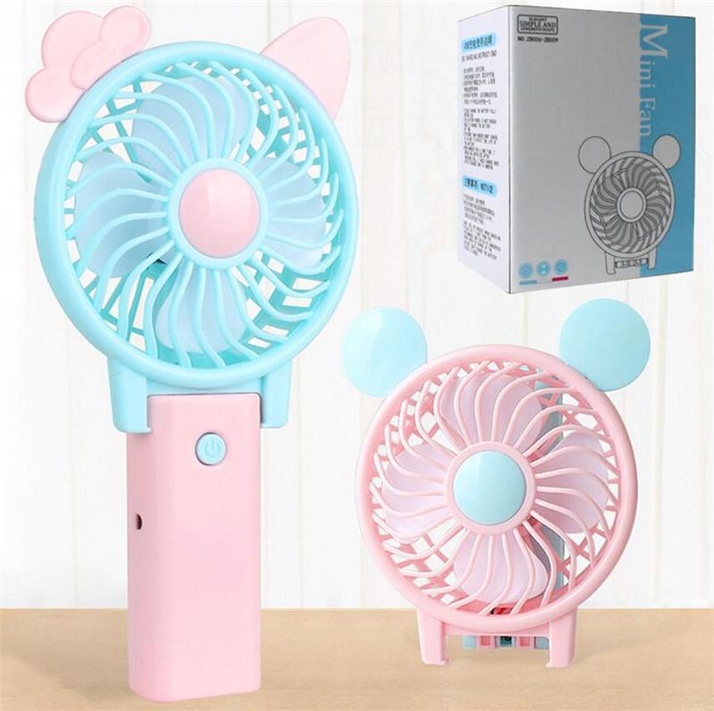 Color : Green Air Cooler USB Mini Fan Bear Shape Cute Fan Portable Powerful Charging Fan Home Dormitory Office