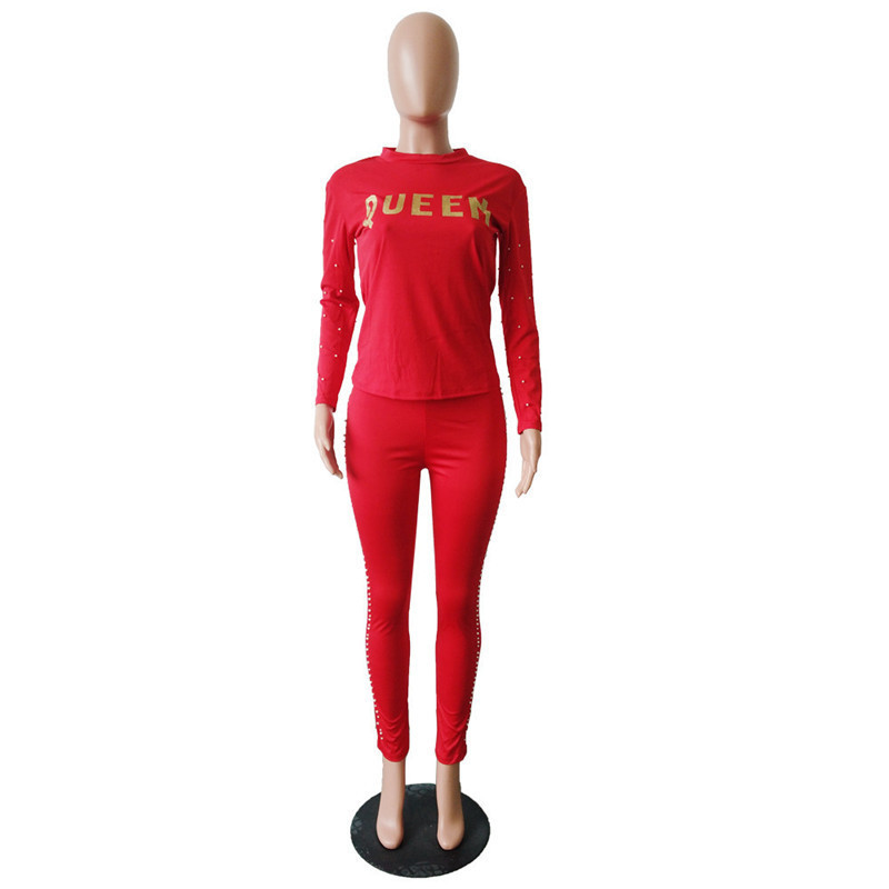 Queen Women Hoodies Letter Tracksuit Long Sleeve Pearl Shirt Sweatshirt + Tights Leggings Set Casual Outfit Pullover Pants hyr Clothes