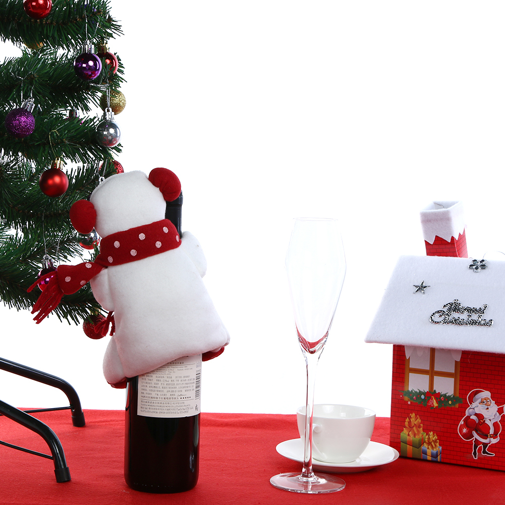 Christmas Wine Bottle Cover Snowman Santa Claus Doll Christmas Decoration for Home New Year Table Decor Supplies Y18102909