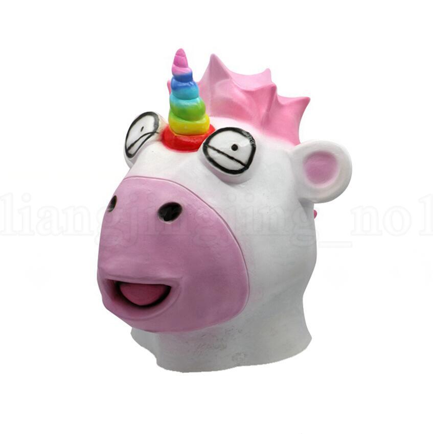 Unicorn Mask Halloween Horror Latex Cartoon Full Face Animal Prop Adult Props Clown Mask Head Cover OOA5640
