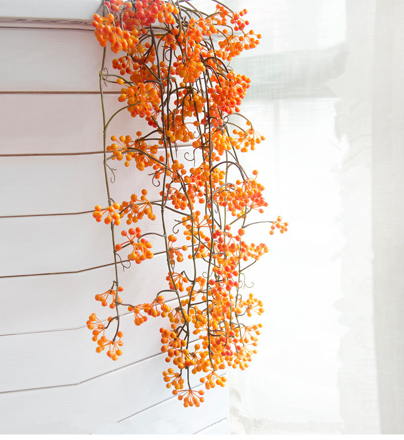 Flone Artificial Flower Branch Fake Red Bean Fruit Vine Simulation Plant Flowers Rattan Wedding Home Party Decoration Floral (1)